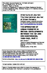 The International Journal of Urban Forestry THE