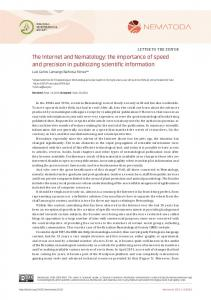 The Internet and Nematology: the importance of speed ... - Nematoda