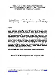 the interplay between mne organization and the host institutional ...