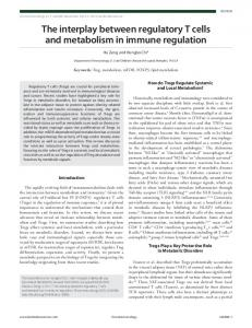 The interplay between regulatory T cells and metabolism in immune ...