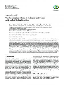 The Intoxication Effects of Methanol and Formic Acid on Rat Retina ...