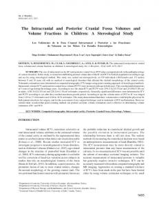 The Intracranial and Posterior Cranial Fossa Volumes and ... - SciELO