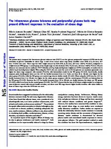The intravenous glucose tolerance and postprandial glucose tests ...