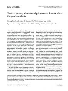 The intravenously administered palonosetron does ... - Semantic Scholar