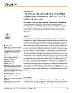 The invasive Red-vented bulbul (Pycnonotus cafer ... - PLOS