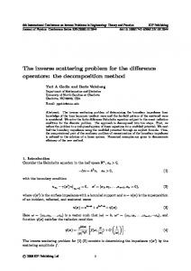 The inverse scattering problem for the difference operators: the