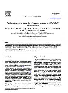 The investigation of properties of electron transport in ...