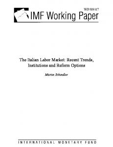 The Italian Labor Market: Recent Trends, Institutions and Reform ... - IMF