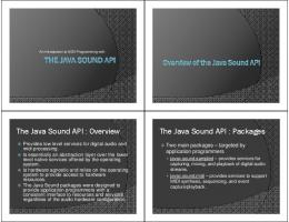 The Java Sound API : Overview The Java Sound API : Packages