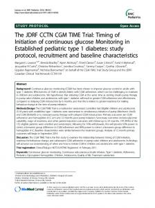 The JDRF CCTN CGM TIME Trial: Timing of Initiation ... - BioMedSearch
