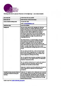 The JISC case study template - University of Salford Institutional ...