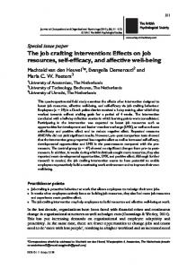 The job crafting intervention - Wiley Online Library