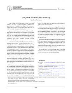 The journal impact factor today - Scielo.br