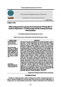 The Journal of A Effect of Experiential Learning T ...
