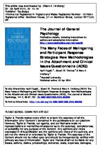 The Journal of General Psychology The Many Faces