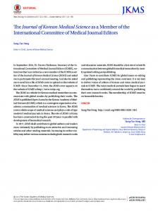 The Journal of Korean Medical Scienceas a Member of the ...
