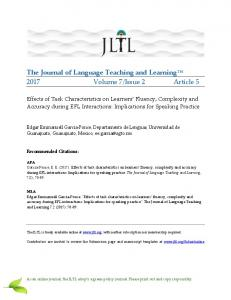 The Journal of Language Teaching and Learning