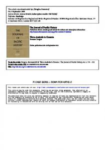 The Journal of Pacific History Terra Australis to Oceania