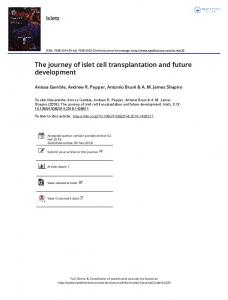 The journey of islet cell transplantation and future ...