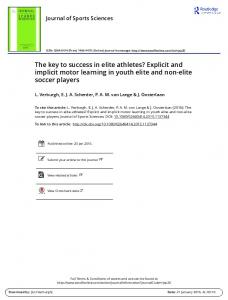 The key to success in elite athletes? Explicit and ... - Squarespace