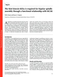 The KinI kinesin Kif2a is required for bipolar spindle ... - BioMedSearch