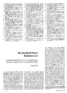The Kirchhoff-Planck Radiation Law
