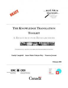 the knowledge translation toolkit a resource for
