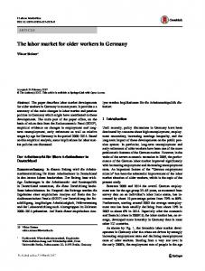 The labor market for older workers in Germany - Semantic Scholar