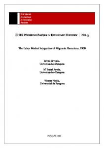 The Labor Market Integration of Migrants: Barcelona, 1930 - European ...