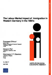 The Labour Market Impact of Immigration in Western Germany in the ...
