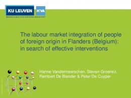 The labour market integration of people of foreign origin in Flanders
