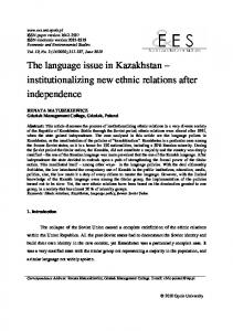 The language issue in Kazakhstan - ECONOMIC AND ...