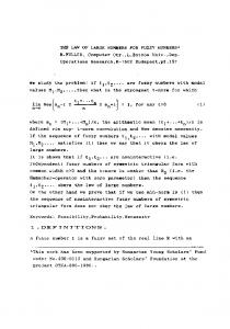 THE LAW OF LARGE NUMBERS FOR FUZZY NUMBERS' R.FULLER ...