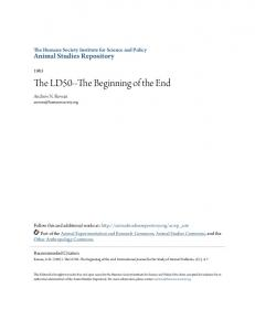 The LD50--The Beginning of the End - Animal Studies Repository
