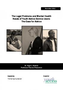 The Legal Problems and Mental Health Needs of Youth Advice ...