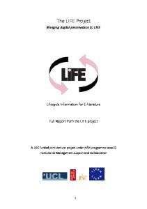 The LIFE Project - UCL Discovery