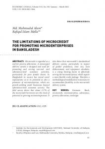 THE LIMITATIONS OF MICROCREDIT FOR PROMOTING ... - doiSerbia