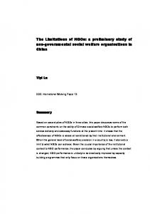 The Limitations of NGOs: a preliminary study of non-governmental