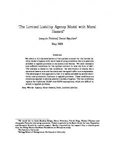 The Limited Liability Agency Model with Moral