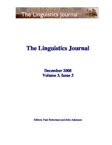 The Linguistics Journal December 2008 Volume 3, Issue 3