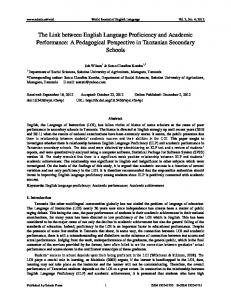 The Link between English Language Proficiency and ... - Sciedu Press
