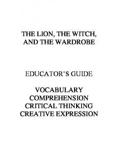 The Lion, the Witch & the Wardrobe Educator's Guide - CS Lewis ...