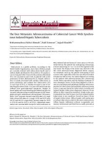 The liver Metastatic Adenocarcinoma of Colorectal Cancer With ...
