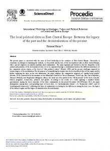 The Local Political Elites in East-central Europe - ScienceDirect