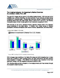 The Lodging Industry: An Appraiser's Market Overview