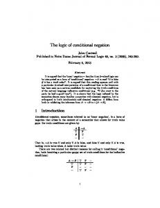 The logic of conditional negation