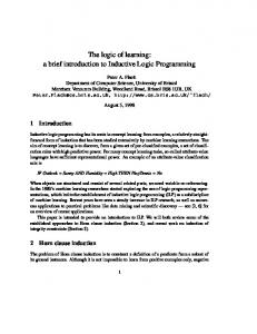 The logic of learning: a brief introduction to ... - Semantic Scholar