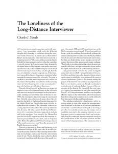 The Loneliness of the Long-Distance Interviewer