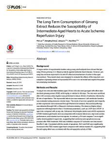 The Long-Term Consumption of Ginseng Extract Reduces the ... - PLOS