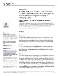 The long-term spatial-temporal trends and burden of esophageal ...